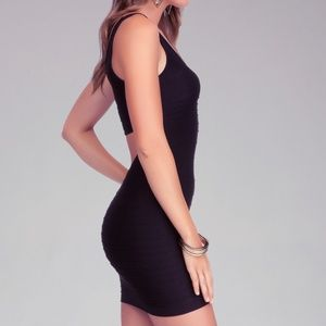 bebe Back Cutout Shine Bodycon Dress
